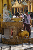 Offering of holy water at planetary post. YANGON, BURMA - FEB 18, 2015 - Offering of holy water at planetary post, name day, shrine, Shwedagon Pagoda Yangon ( Royalty Free Stock Images