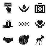 Offering icons set, simple style. Offering icons set. Simple set of 9 offering vector icons for web isolated on white background Stock Photo