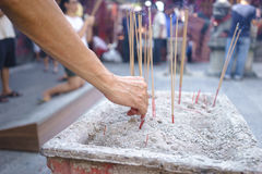 Offering of Joss Sticks in Penang Temple Stock Image