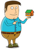 Offering mini house. Smiling property salesman offering a house stock illustration