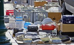 Kitchenware at an outdoor commercial fair Royalty Free Stock Photos