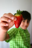 Offering a strawberry. Child holds up a strawberry to the lens, shallow DOF Stock Images