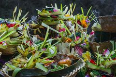 Offering to Hindu Gods in Bali island which called Canang and made from leaves and flowers.  stock images