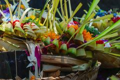 Offering to Hindu Gods in Bali island which called Canang and made from leaves and flowers.  royalty free stock images