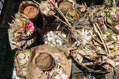 Offering to Hindu Gods in Bali island which called Canang and made from leaves and flowers.  stock photos