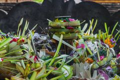 Offering to Hindu Gods in Bali island which coled Canang and made from leaves and flowersOffering to Hindu Gods in Bali island whi. Offering to Hindu Gods in stock images