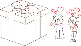 Offering Woman in Love a Big Present Royalty Free Stock Photography