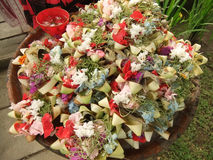 Offerings in Bali. Balinese daily offerings with flowers and rice Royalty Free Stock Photos