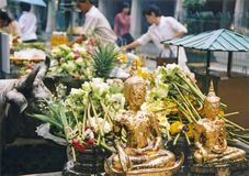 Offerings in bangkoks grand palace thailand Royalty Free Stock Photos