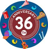 Anniversary 36th. Set of anniversaries from 10 to 50. Offerings and beautiful birthday comments to the people close to you Royalty Free Illustration