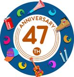 Anniversary 47th. Set of anniversaries from 10 to 50. Offerings and beautiful birthday comments to the people close to you Royalty Free Illustration