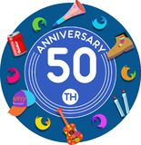 Anniversary 50th. Set of anniversaries from 10 to 50. Offerings and beautiful birthday comments to the people close to you stock illustration