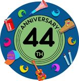 Anniversary 44th. Set of anniversaries from 10 to 50. Offerings and beautiful birthday comments to the people close to you vector illustration