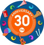 Anniversary 30th. Set of anniversaries from 10 to 50. Offerings and beautiful birthday comments to the people close to you Vector Illustration