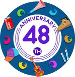 Anniversary 48th. Set of anniversaries from 10 to 50. Offerings and beautiful birthday comments to the people close to you royalty free illustration