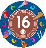 Anniversary 16th. Set of anniversaries from 10 to 50. Offerings and beautiful birthday comments to the people closest to you Royalty Free Illustration