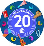 Anniversary 20th. Set of anniversaries from 10 to 50. Offerings and beautiful birthday comments to the people closest to you Royalty Free Stock Image