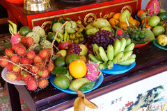 Offerings of fruit to fertility deity Stock Photography