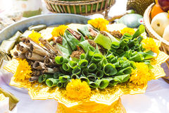 Offerings for joss house , Thailand. Stock Photos