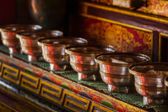 Offerings (Tibetan Water Offering Bowls)  in Lamayuru gompa (Tib Stock Images