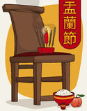 Offerings to Calm and Guide the Spirits in Ghost Festival, Vector Illustration. Poster with offerings in the favorite chair spot of the ancestor in Hungry Ghost Stock Photography