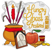 Offerings to Pay Respect to Ancestors in Ghost Festival, Vector Illustration Royalty Free Stock Photo