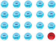 Offers or Discount Badges. Discounts Badges which are perfect for any website with light blue business classic looks. Available in vector AI Royalty Free Stock Photo