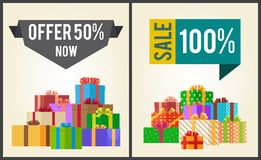 Offers 50 New Sale 100 Promo Labels Banners Boxes. Offers 50 new, sale 100 promo labels on web banners with heaps of present boxes in decorative wrapping paper vector illustration