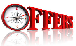 Offers red word with compass. 3d text on white background.clipping path included Royalty Free Stock Photography