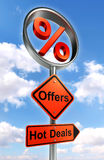 Offers road sign with discount symbol Stock Photos