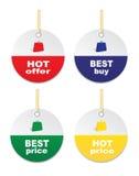 Offerta calda delle etichette, migliore migliore prezzo, prezzo caldo, Best Buy Immagine Stock