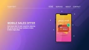 Offerta di acquisto, vendite online, acquisto mobile, commercio elettronico, concetto di progetto piano con fondo blu & giallo illustrazione vettoriale