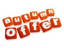 Offerta di autunno - testo in cubi arancioni Fotografia Stock