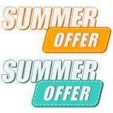 Offerta di estate, due etichette di colori Fotografia Stock Libera da Diritti