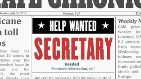 Offerta di lavoro di segretario royalty illustrazione gratis