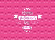 Offerta di vendita di giorno di biglietti di S. Valentino Carta felice di giorno di biglietti di S. Valentino con fondo rosa illustrazione vettoriale