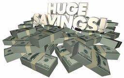 Offerta enorme di sconto di vendita dei mucchi dei contanti dei soldi di risparmio illustrazione vettoriale