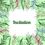 Offerta floreale dell'invito della carta dei modelli della molla botanica royalty illustrazione gratis