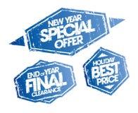Offerta speciale del nuovo anno, spazio finale di fine d'anno e bolli di prezzi di festa migliori messi Immagine Stock