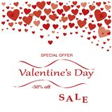 Offerta speciale di vendita di giorno del ` s del biglietto di S. Valentino fotografie stock libere da diritti