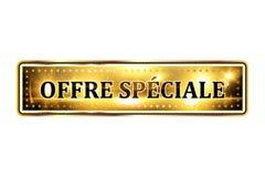 Offerta speciale! Icona elegante di lingua francese Fotografia Stock