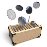 Offertory Box And Coin.  Royalty Free Stock Photography