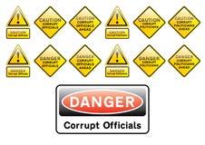 Officals e sinais corrompidos dos políticos Imagens de Stock Royalty Free