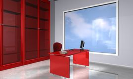 Office. 3d rendering office red style Royalty Free Stock Photography