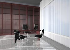 Office. 3d rendering financial office chair computer Royalty Free Stock Photos