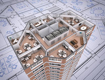 Office. 3D cut of office building on architect's drawing Stock Photo
