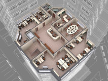 Office. Interior of office building look downwards. 3d image Stock Photography