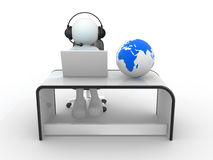 Office. 3d people - human character . Earth globe and person with headphones and  laptop at a office.  3d render Stock Photo
