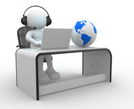 Office. 3d people - human character . Earth globe and a person with headphones and laptop at a office. 3d render Royalty Free Stock Photo