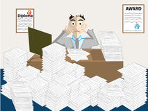 Office. Businessman has stress because he has a lot of documents to finish and not enough time Stock Images